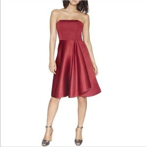 Halston Heritage Red Strapless Fit Flare Dress 0